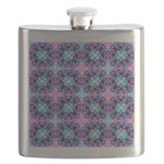 Turquoise Purple Fractal Pattern Flask