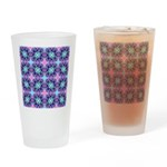 Turquoise Purple Fractal Pattern Drinking Glass
