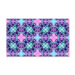 Turquoise Purple Fractal Pattern 20x12 Wall Decal