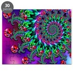 Purple Green and Red Bokeh Fractal Pattern Puzzle