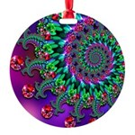 Purple Green and Red Bokeh Fractal Pattern Round O