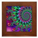 Purple Green and Red Bokeh Fractal Pattern Framed