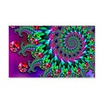 Purple Green and Red Bokeh Fractal Pattern 20x12 W