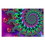 Purple Green and Red Bokeh Fractal Pattern Large P