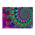 Purple Green and Red Bokeh Fractal Pattern 5'x7'Ar