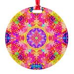 Pink Fractal Mandala Round Ornament