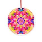 Pink Fractal Art Mandala Pattern Ornament (Round)