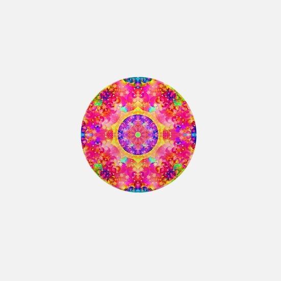 Pink Fractal Art Mandala Pattern Mini Button