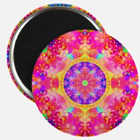 Pink Fractal Art Mandala Pattern Magnet
