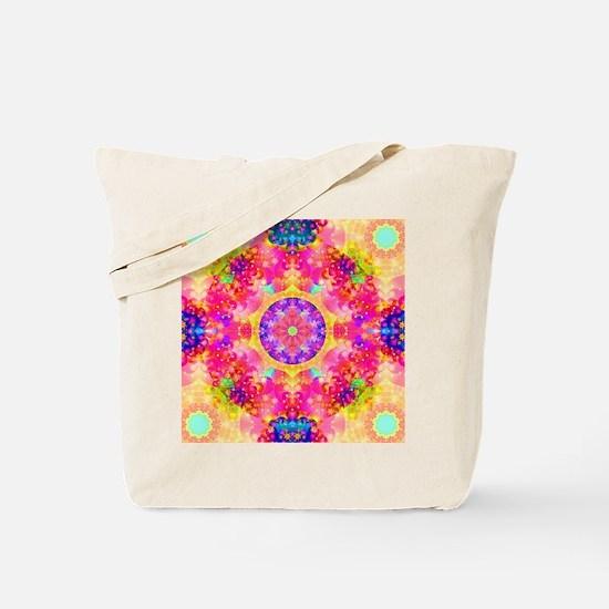 Pink Fractal Art Mandala Pattern Tote Bag