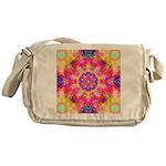 Pink Fractal Art Mandala Pattern Messenger Bag