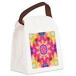 Pink Fractal Art Mandala Pattern Canvas Lunch Bag