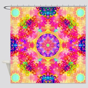 Pink Fractal Art Mandala Pattern Shower Curtain