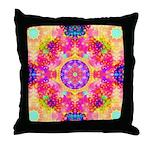 Pink Fractal Art Mandala Pattern Throw Pillow