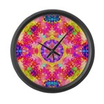 Pink Fractal Art Mandala Pattern Large Wall Clock