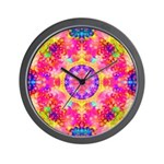 Pink Fractal Art Mandala Pattern Wall Clock
