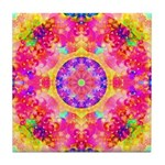 Pink Fractal Mandala Tile Coaster