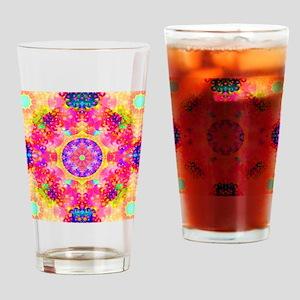 Pink Fractal Art Mandala Pattern Drinking Glass