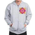 Pink Fractal Art Mandala Pattern Zip Hoodie