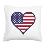 American Flag Heart Square Canvas Pillow