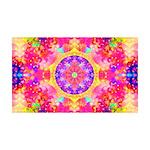 Pink Fractal Art Mandala Pattern 35x21 Wall Decal