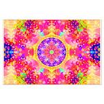 Pink Fractal Art Mandala Pattern Large Poster