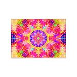 Pink Fractal Art Mandala Pattern 5'x7'Area Rug