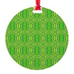 Retro Lime Green Pattern Round Ornament