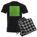 Retro Lime Green Pattern Men's Dark Pajamas