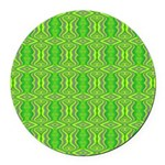 Retro Lime Green Pattern Round Car Magnet
