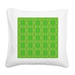 Retro Lime Green Pattern Square Canvas Pillow