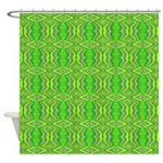 Retro Lime Green Pattern Shower Curtain