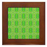 Retro Lime Green Pattern Framed Tile