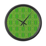Retro Lime Green Pattern Large Wall Clock