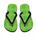 Retro Lime Green Pattern Flip Flops