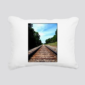 .railroad tracks. color Rectangular Canvas Pillow
