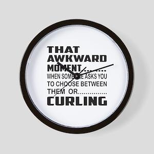That Awkward Moment... Curling Wall Clock