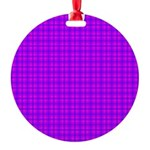 Purple and Pink Checkered Gingham Pattern Round Or