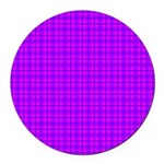 Purple and Pink Checkered Gingham Pattern Round Ca