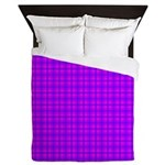 Purple and Pink Checkered Gingham Pattern Queen Du
