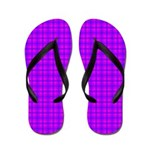 Purple and Pink Checkered Gingham Pattern Flip Flo