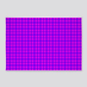 Purple and Pink Checkered Gingham Pattern 5'x7'Are