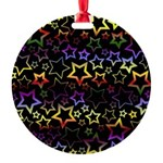Rainbow and Black Star Pattern Round Ornament