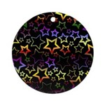 Rainbow and Black Star Pattern Ornament (Round)