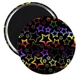 Rainbow and Black Star Pattern Magnet