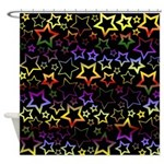Rainbow and Black Star Pattern Shower Curtain