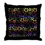 Rainbow and Black Star Pattern Throw Pillow