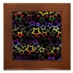 Rainbow and Black Star Pattern Framed Tile