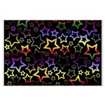 Rainbow and Black Star Pattern Large Poster
