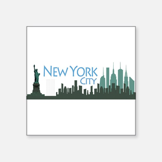 NYC Liberty Skyline textured dark Square Sticker 3